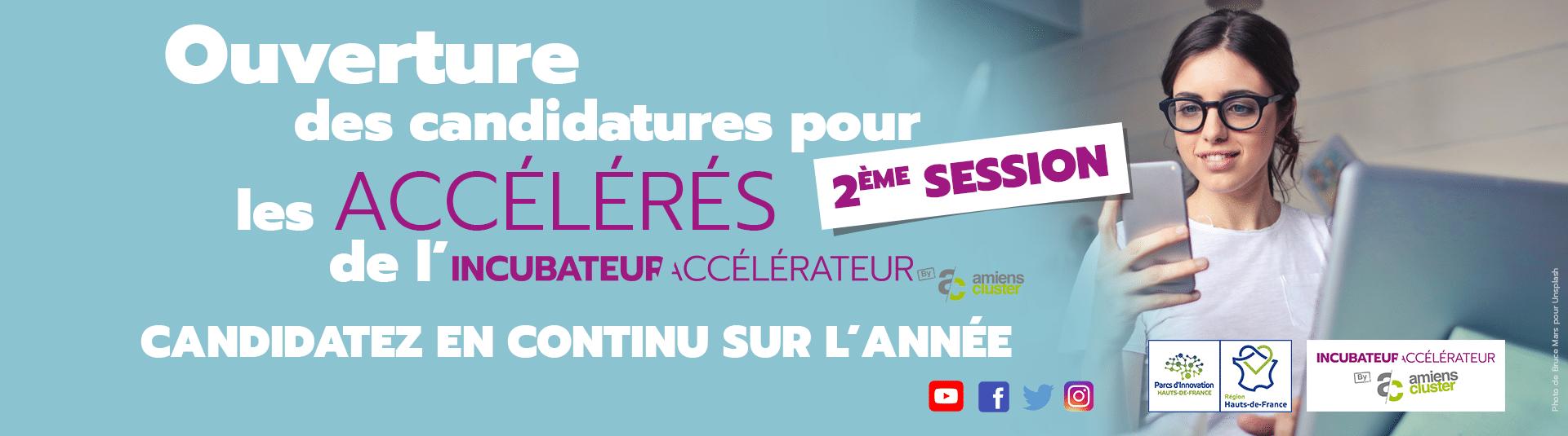 Bandeau promotionnel pour l'ouverture des candidatures à l'incubateur accélérateur d'Amiens cluster