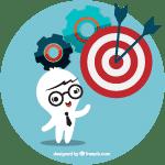 Sticker avec personnage et cible et engrenages - Incubateur Amiens cluster